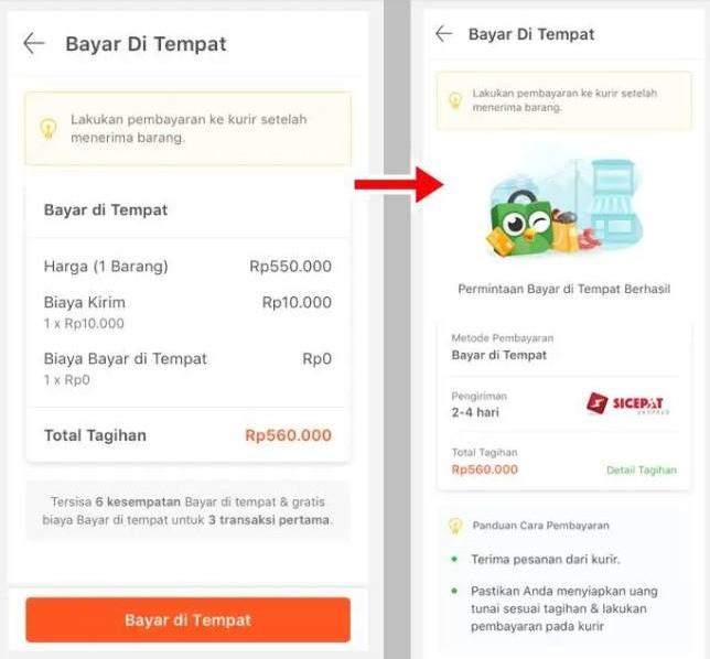 Gambar 3 : Cara belanja online bayar di tempat tokopedia
