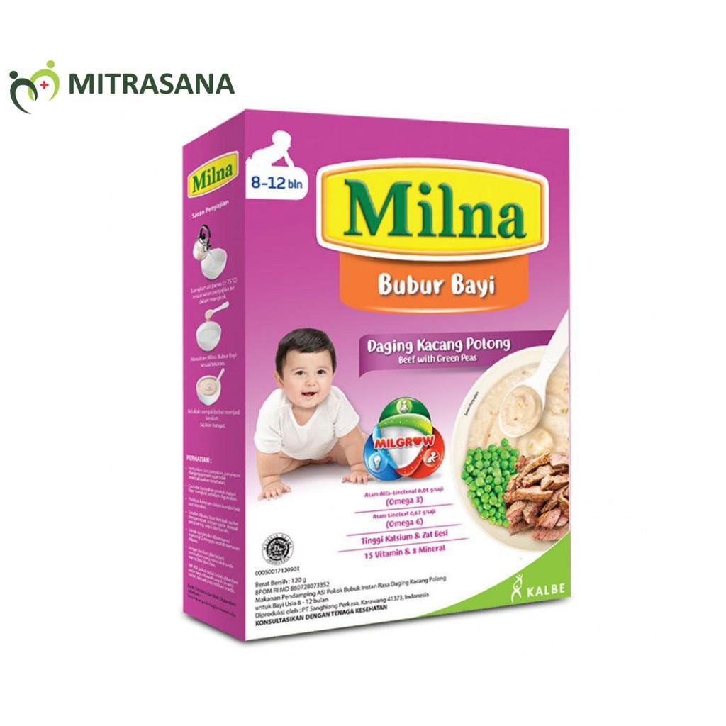 Harga-Milna Bubur Reguler 8 Bulan Daging Kacang Polong 120 gr