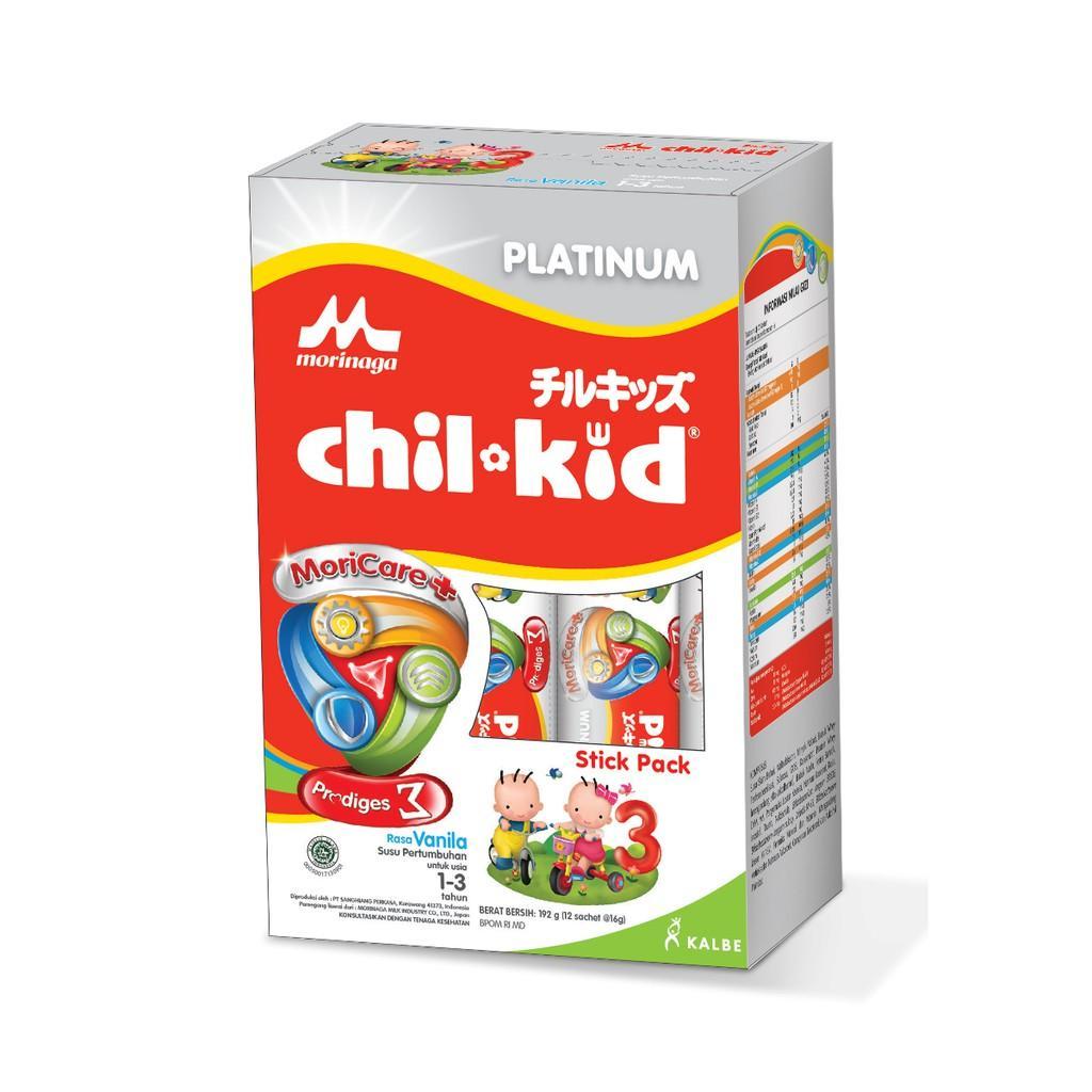 Harga-Morinaga Chil Kid Platinum Stick Pack 3 Vanila 12x16 gr - Susu Pertumbuhan