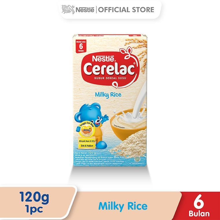 Harga-Nestle Cerelac Bubur Bayi Instant Usia 6-12 Bulan Rasa Beras Putih Susu Box 120 g