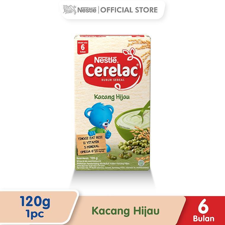 Harga-Nestle Cerelac Bubur Bayi Instant Usia 6-12 Bulan Rasa Kacang Hijau Box 120 g