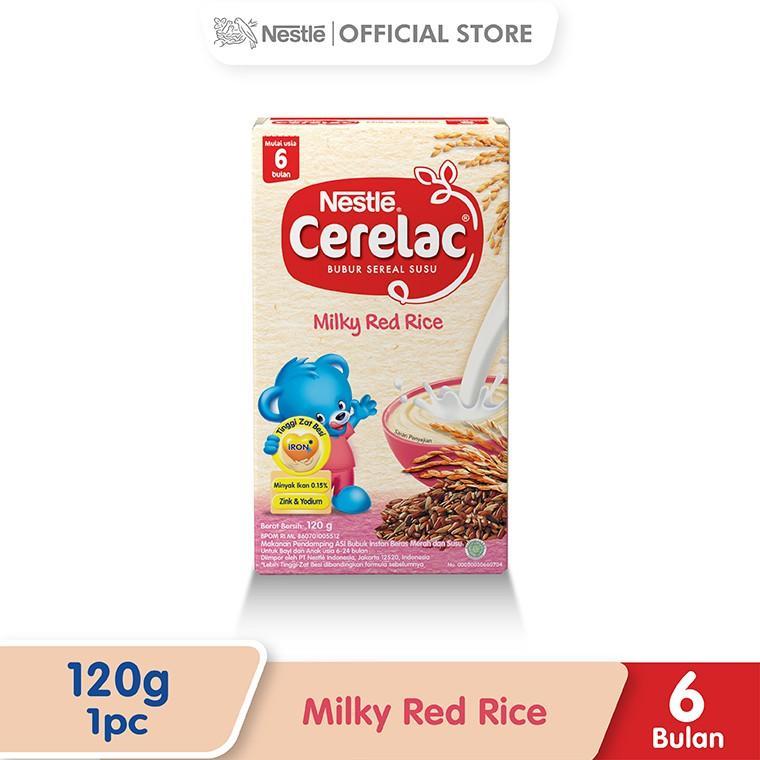 Harga-Nestle Cerelac Bubur Bayi Instant Usia 6-24 Bulan Rasa Beras Merah Susu Box 120 g