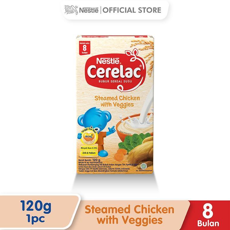 Harga-Nestle Cerelac Bubur Bayi Instant Usia 8-24 Bulan Rasa Tim Ayam Sayur Box 120 g