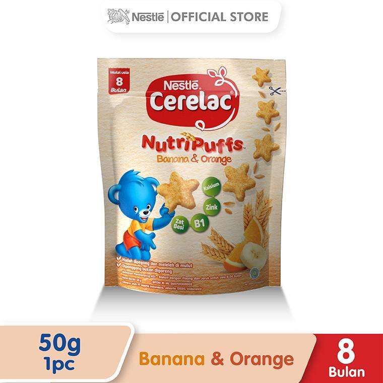 Harga-Nestle Cerelac Nutripuff 8+ Rasa Pisang Dan Jeruk Pouch 50 g