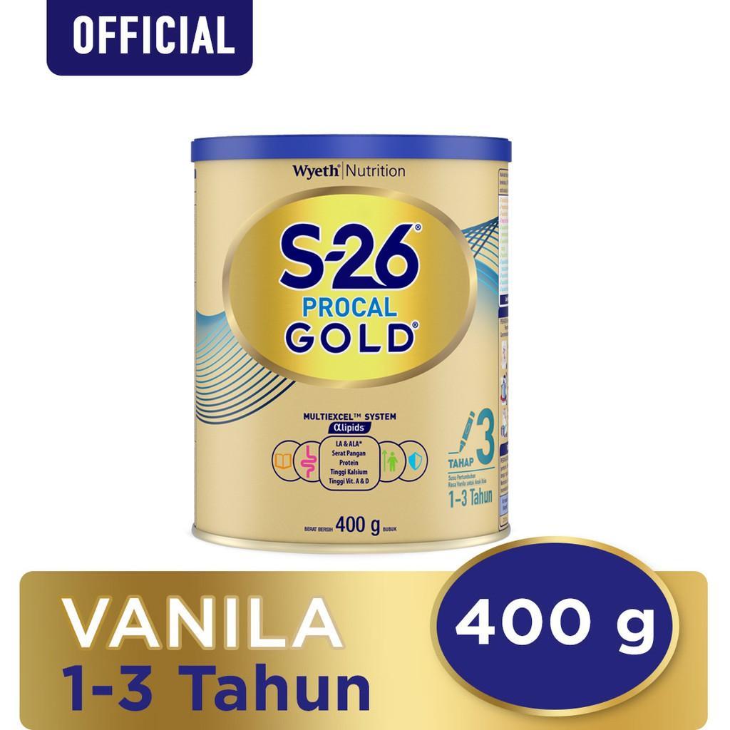 Harga-S-26 Procal Gold Tahap 3 Vanila Susu Pertumbuhan Anak Usia 1-3 Tahun Kaleng 400 g