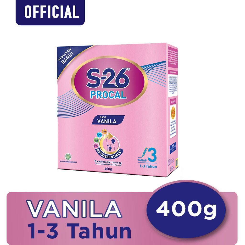 Harga-S-26 Procal Tahap 3 Vanila Susu Pertumbuhan Anak Usia 1-3 Tahun Kotak 400 g